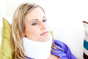 woman with whiplash injury